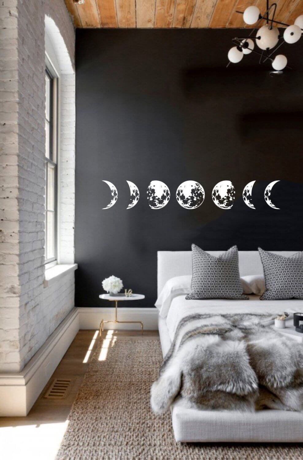 Modern Lunar Phases Moon Sticker