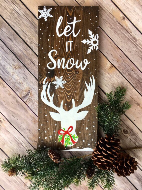 Let it Snow Wood Rustic Christmas Sign