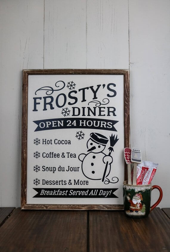 Frosty's Diner Old-Fashioned Wood Sign