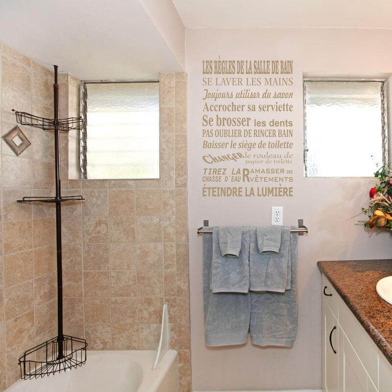 Bathroom Rules in French Wall Sticker