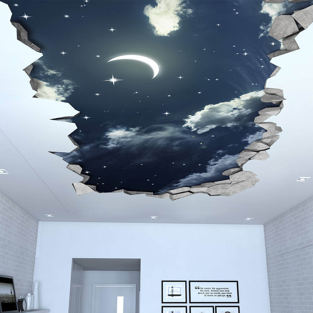 Night Sky 3D Effect Ceiling Wallpaper