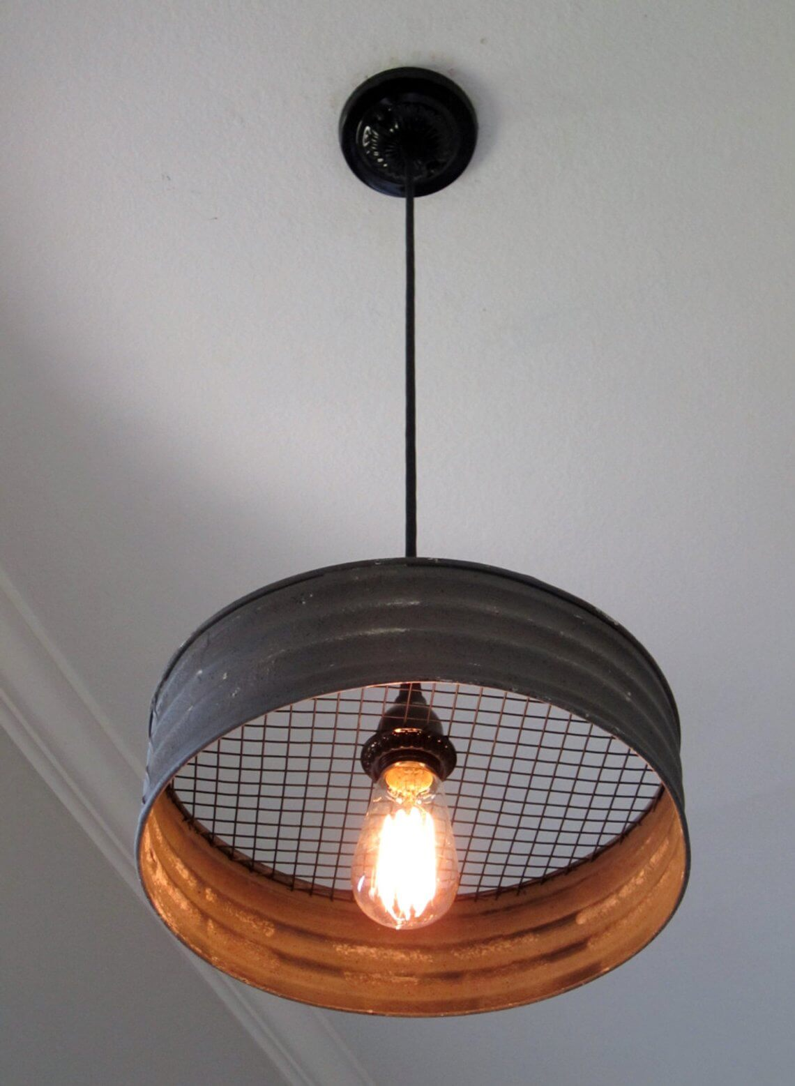 Rustic Metal Sifter Pendant Light