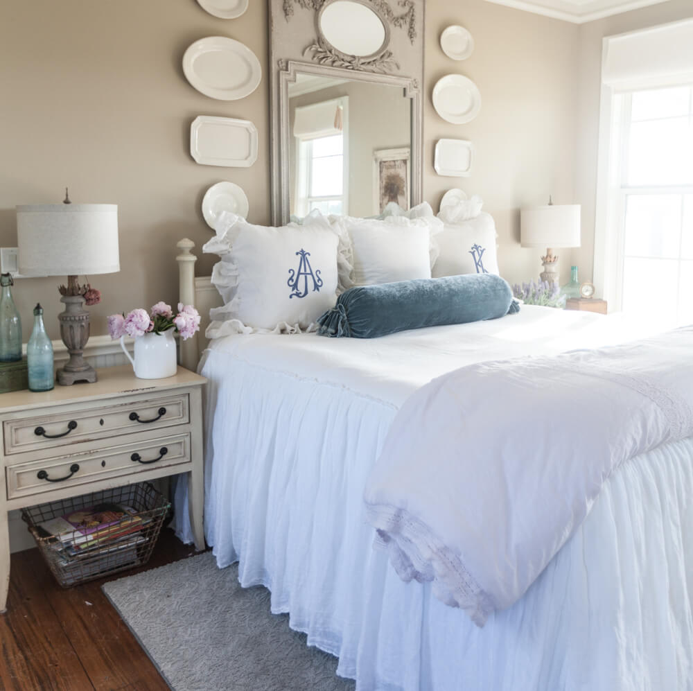 Contemporary Bedroom with Hanging Plate Gallery Wall