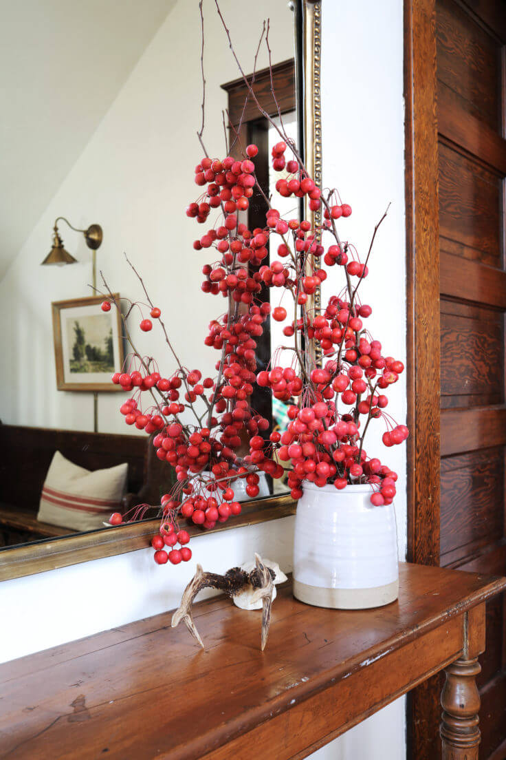 Wood & Winter Berry Entryway with Vase