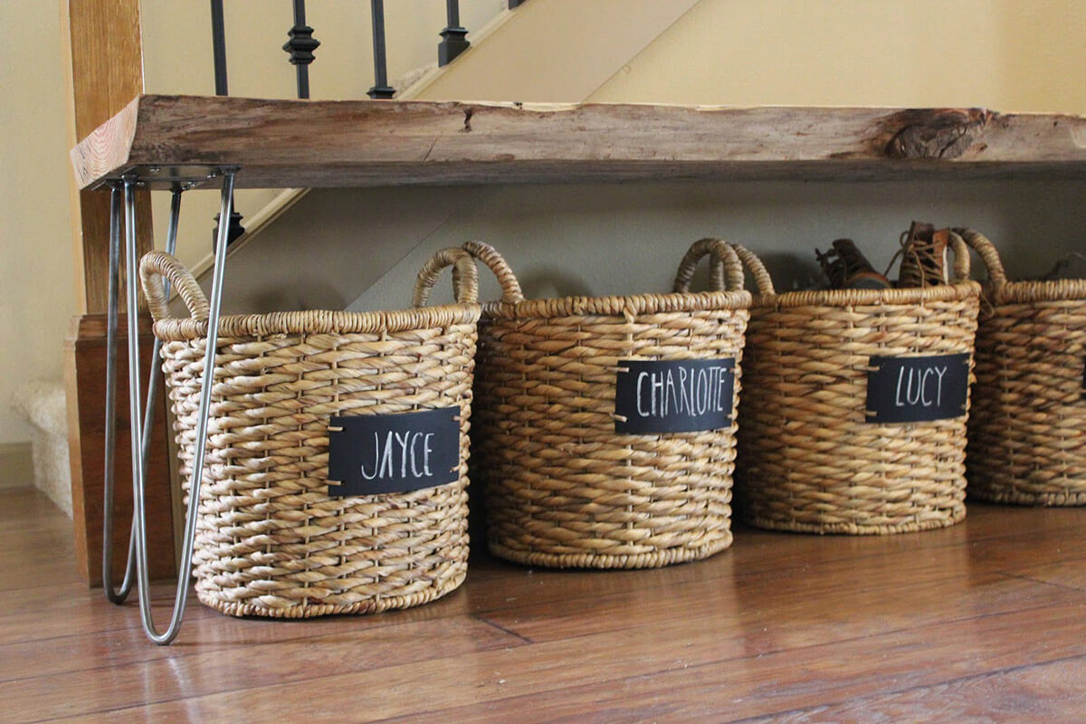 Rustic Individualized Wicker Shoe Baskets