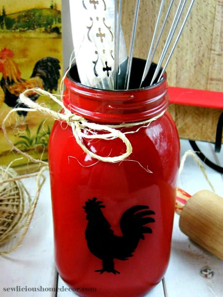 DIY Repurposed Red Mason Jars