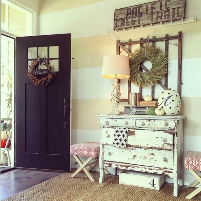 Rustic Pacific Style Stripped Chest and Antique Sign