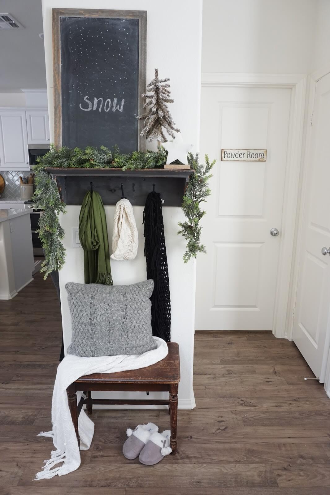 Wintery Corner with Chalkboard and Evergreen Garlands