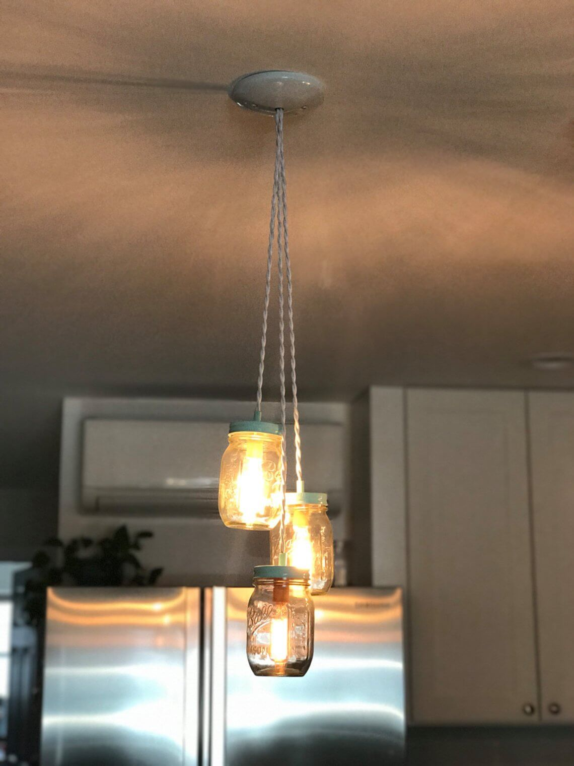 Triple Mason Jar Pendant Cluster Light
