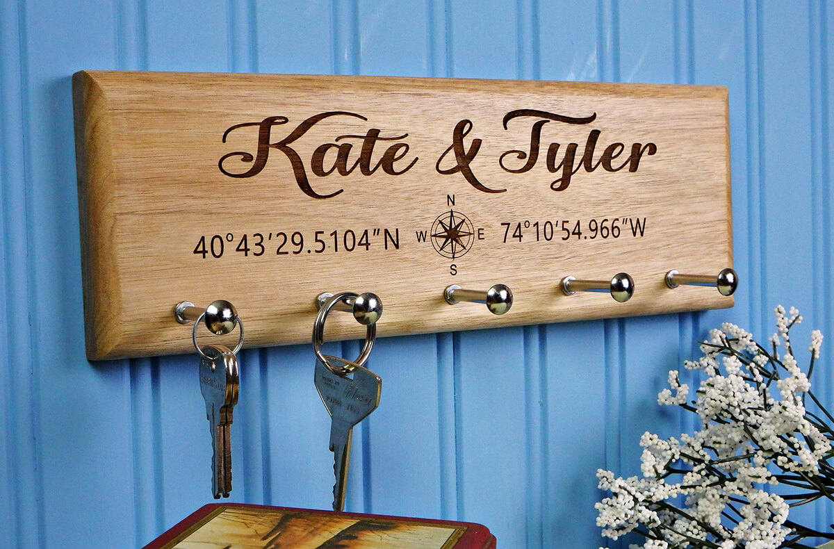 A Longitude and Latitude Custom Key Holder