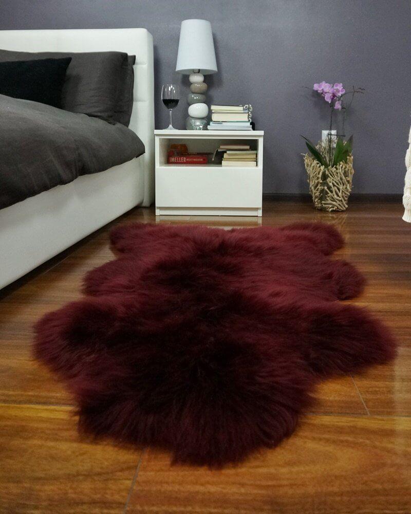 A Burgundy Sheepskin Rug Adds Luxury