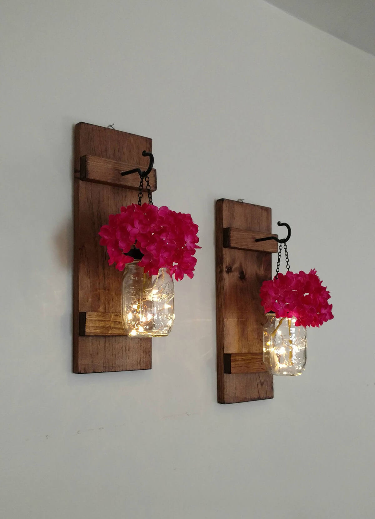 Farmhouse Inspired Red Floral Sconces