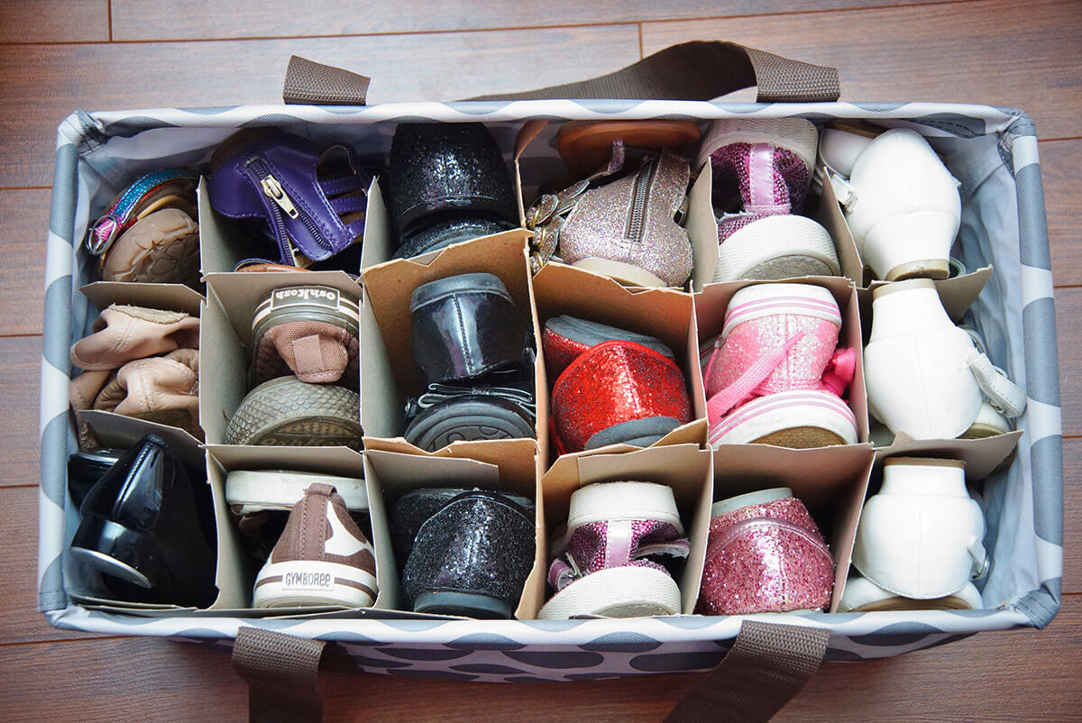 Homemade Square Shoe Cubby Tote