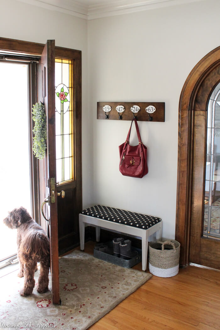 Simple Entry Nook with Numbered Hooks