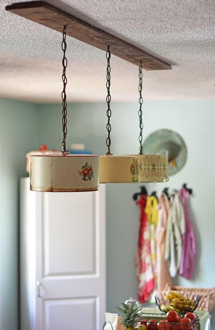 Mismatched Cake Tin Shades for Linear Pendant