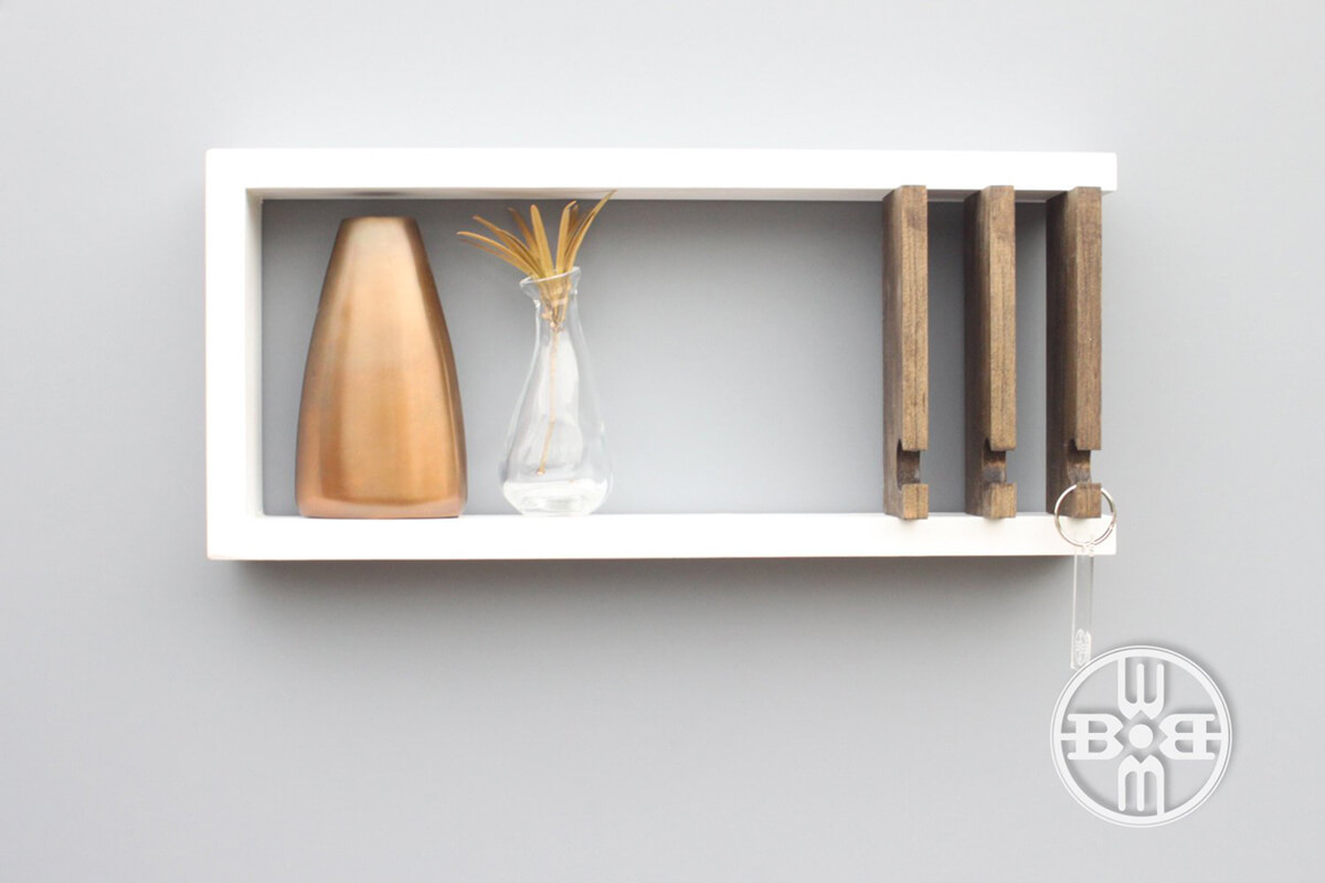 Modern White Shelf and Key Holder