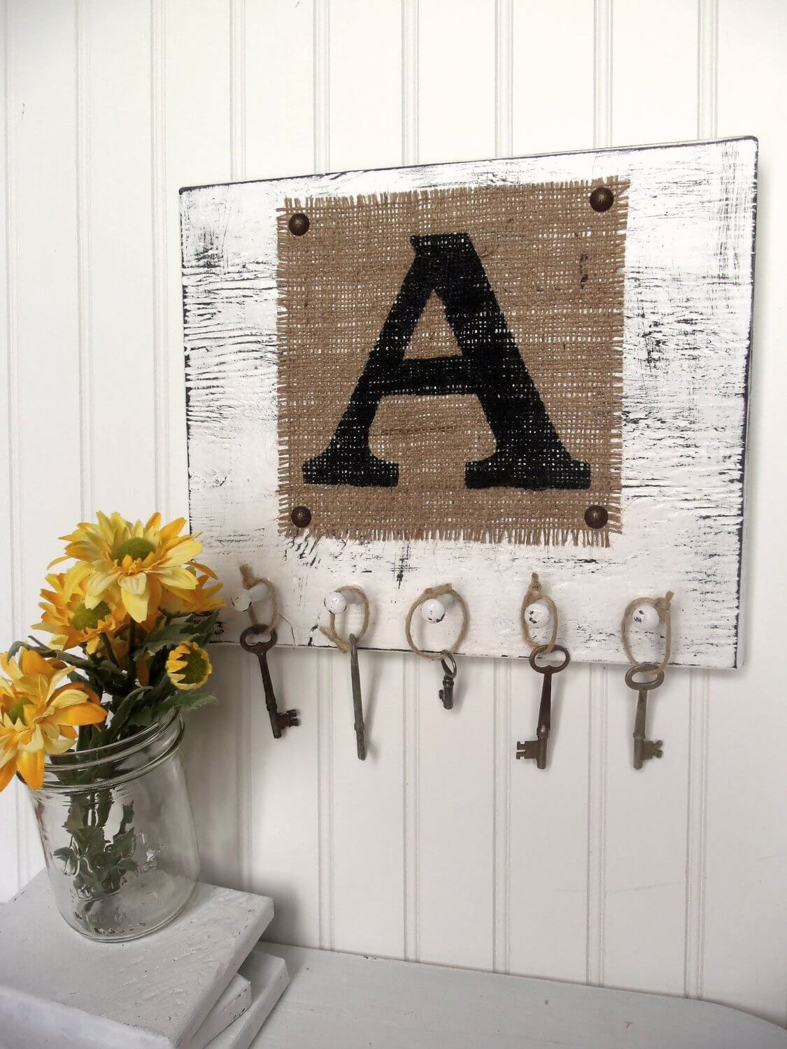 Burlap and Wood Monogrammed Key Rack