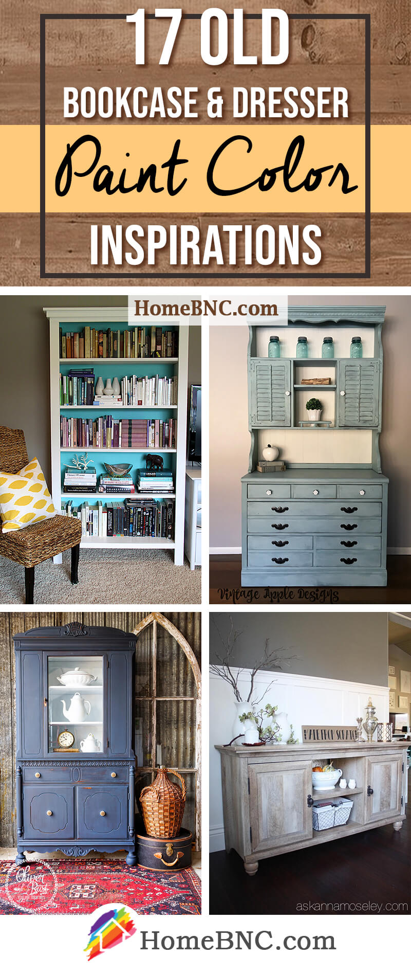 Old Bookcase and Dresser Paint Color Ideas