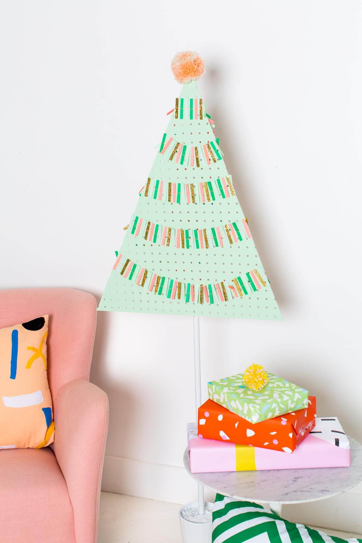Pegboard Christmas Tree for Cards, Artwork or Ornaments