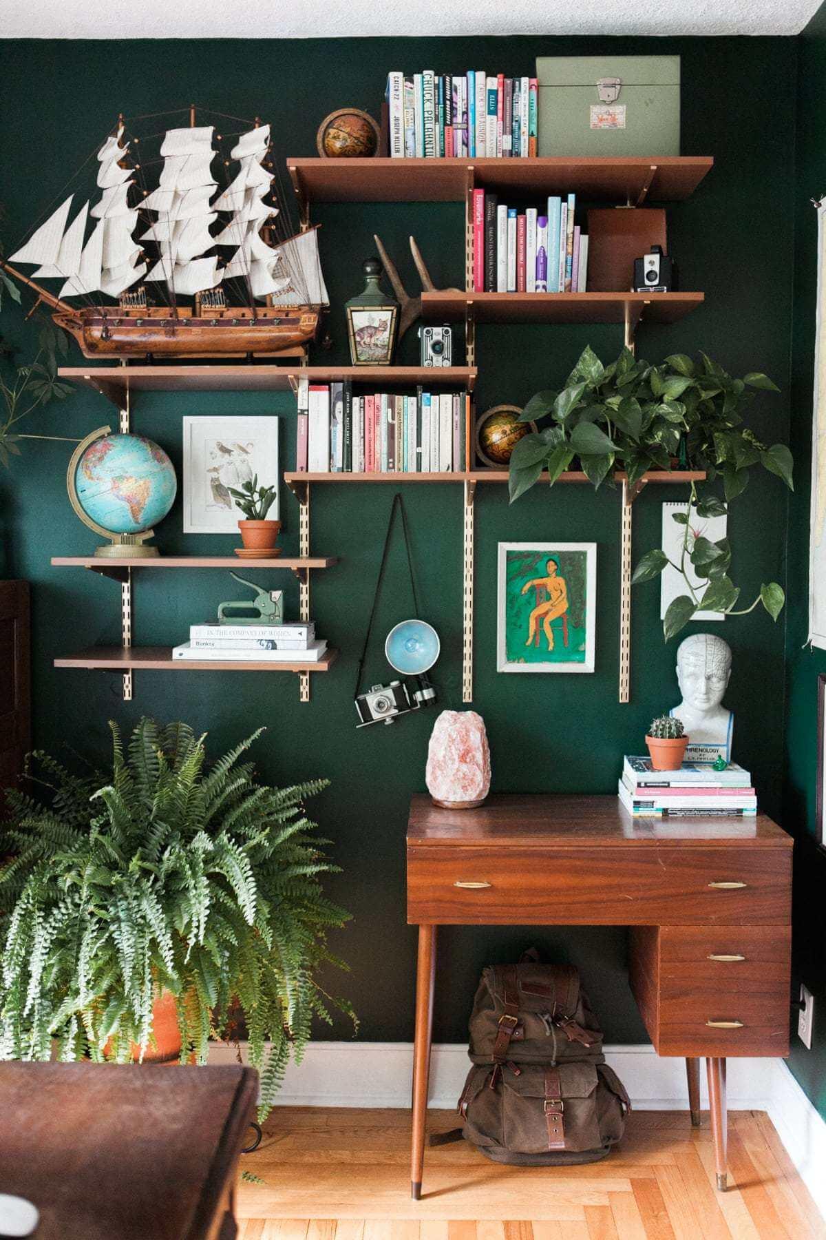 Captivating Dark Green Office Wall