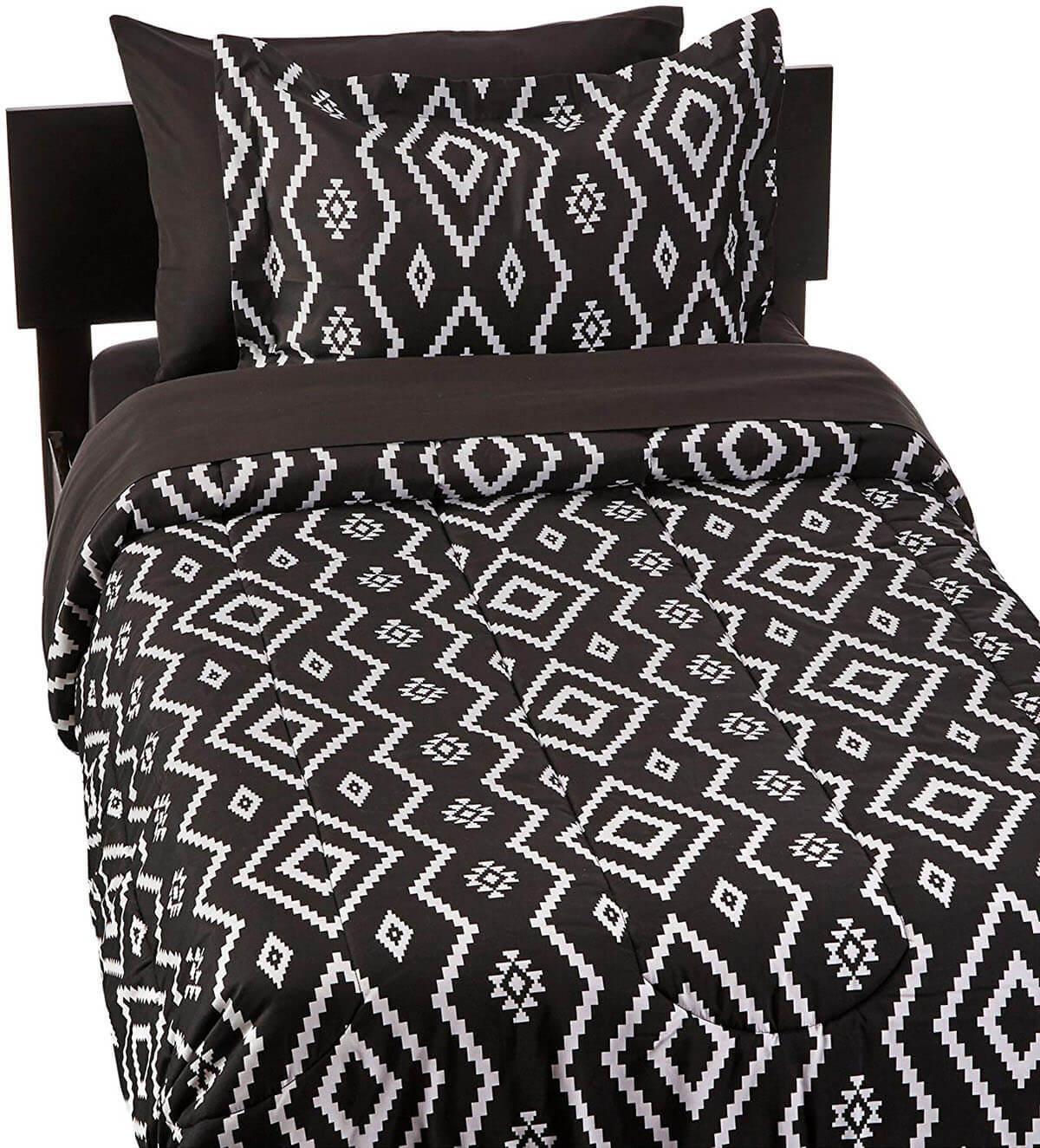 Navajo-Inspired Black and White Bedding