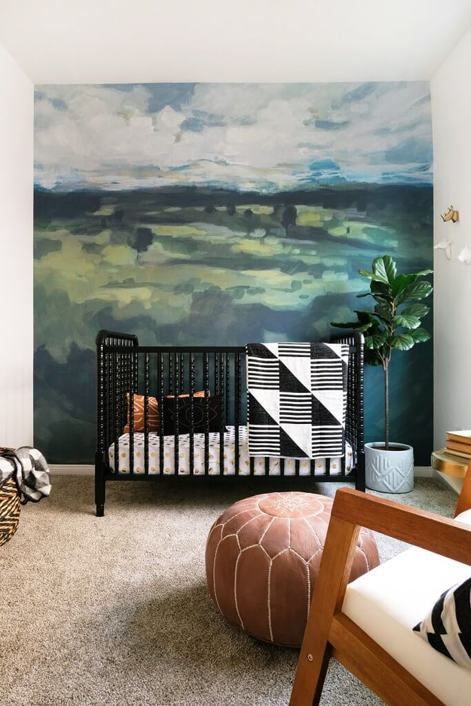 Nursery Transformation with Nature Inspired Wall Mural