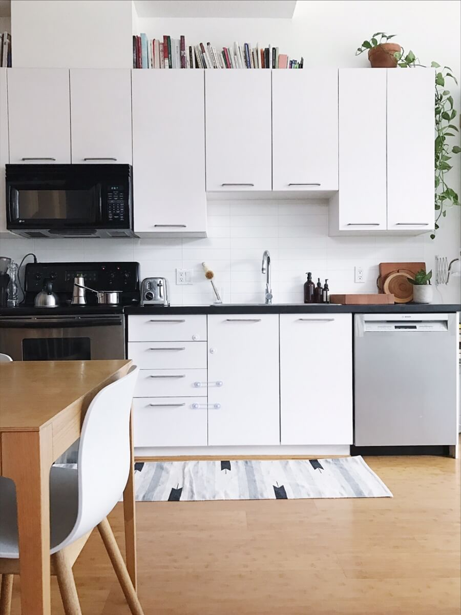 Kitchen with White Cupboards and Wood Floor
