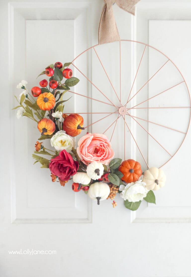 Welcoming Pink Spinning Wheel and Flowers