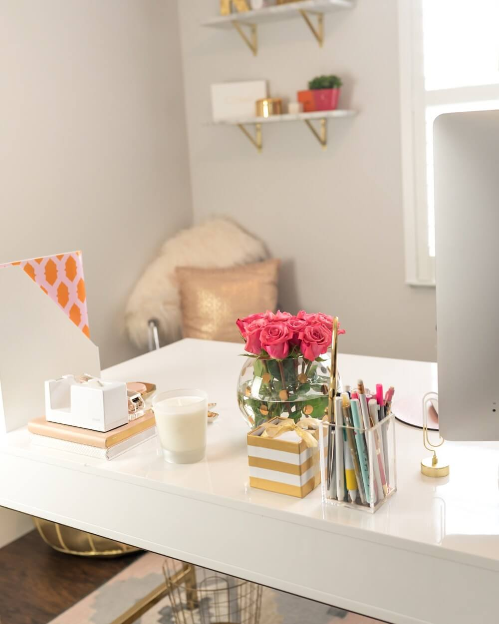 Modern Eclectic Desktop Storage and Fresh Flowers