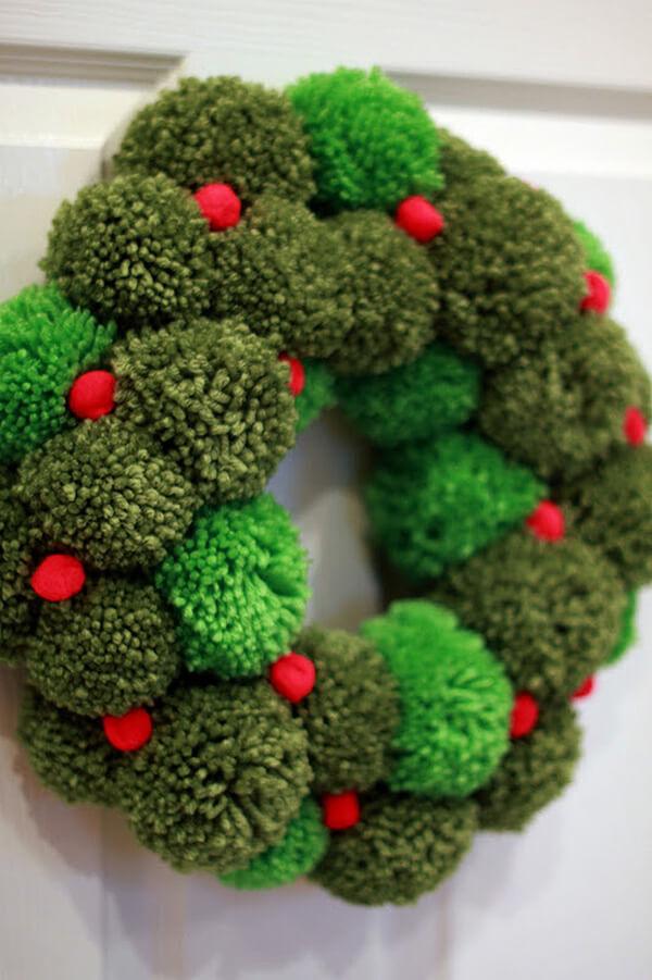 Handcrafted Green Pom Pom Wreath
