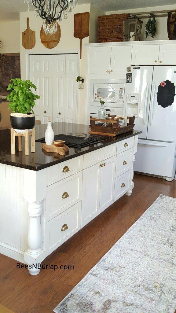 Nouveau Farmhouse Kitchen with Bureau-Style Island