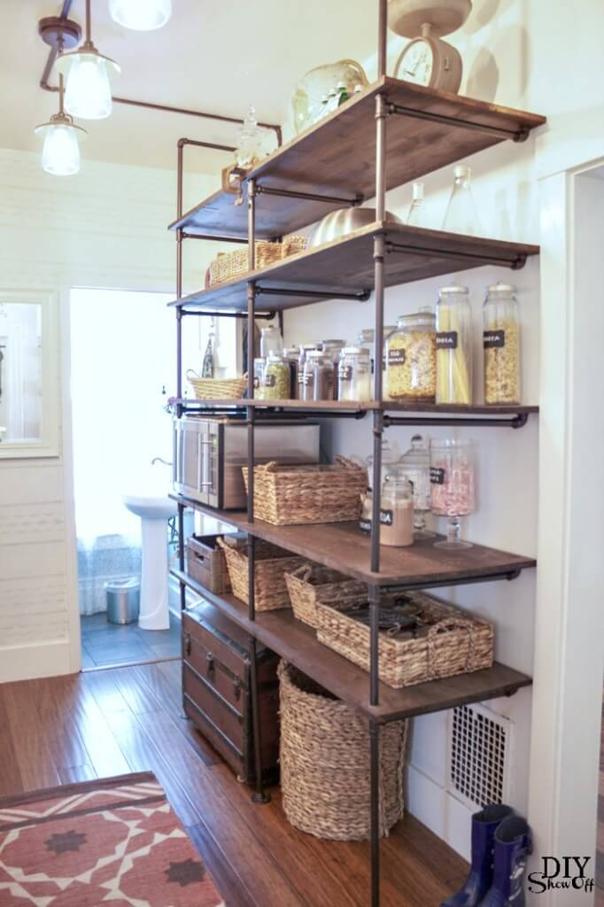 Cool Copper Piping Built-in Shelving Unit