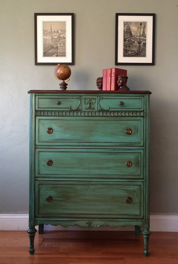 Re-purpose an Old Dresser with Emerald Green