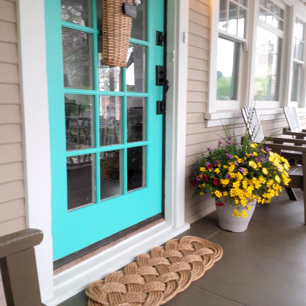 Bright Teal Painted Porch Door