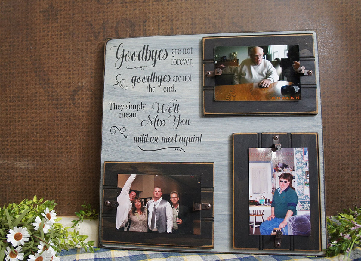 Three-Photo Sentimental Message Memorial Display