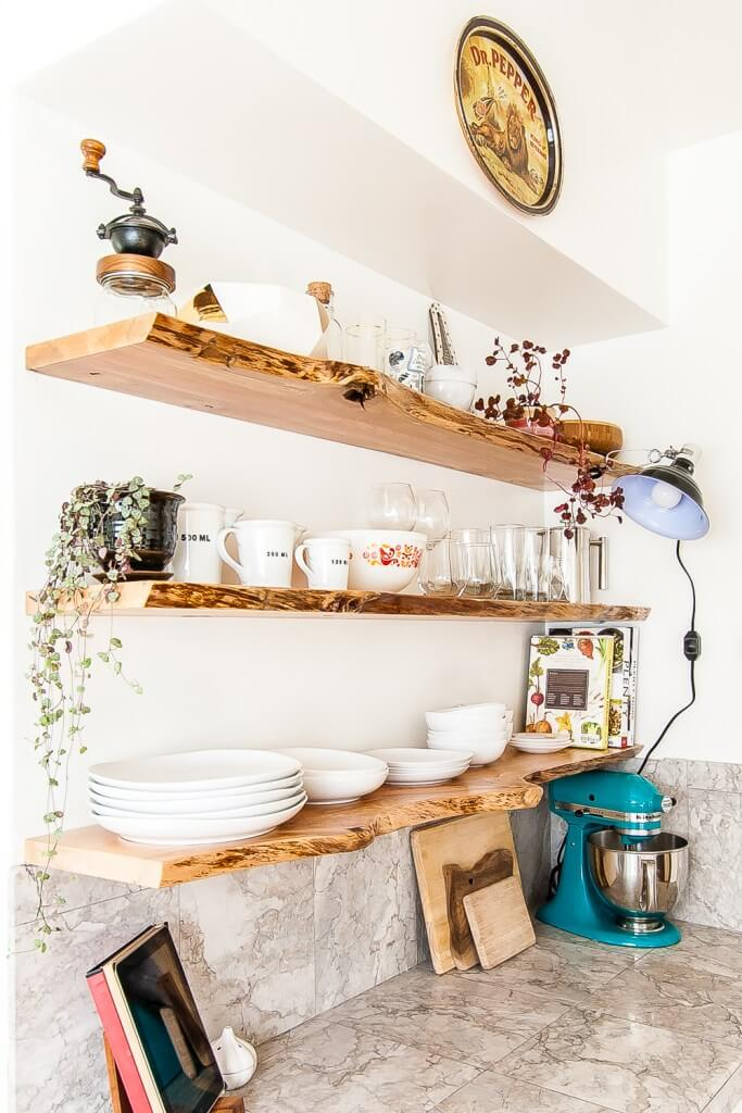 Rustic and Elegant Natural Wooden Shelves