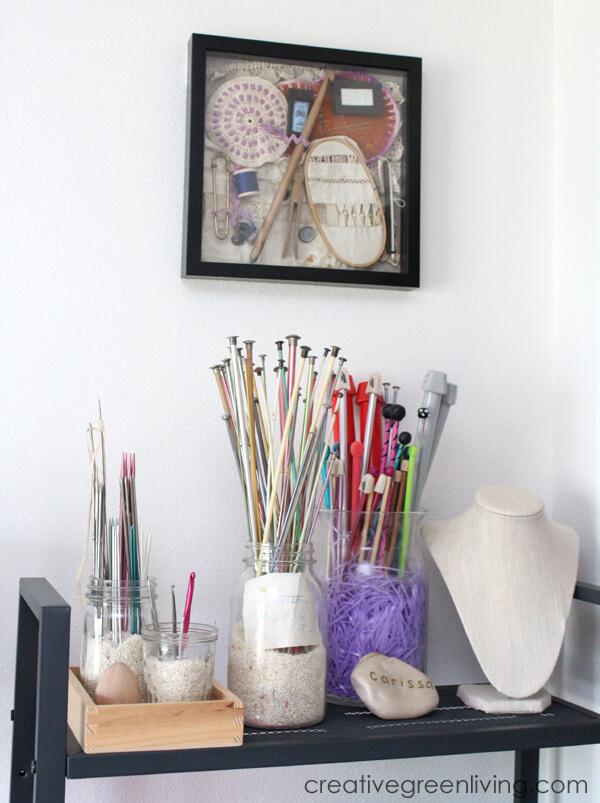 Knitting And Crocheting Needle Glass Jar Organizers