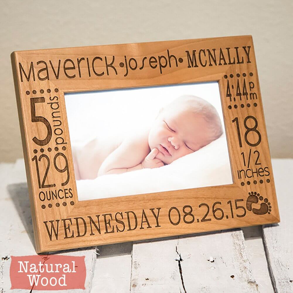 Natural Lightwood Keepsake Newborn Photo Frame