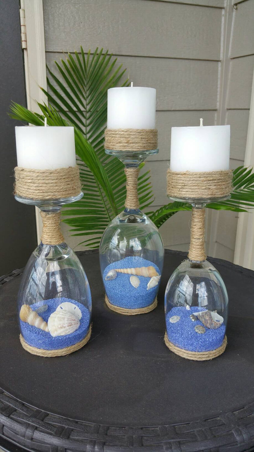 Sandy Seashell Homemade Wineglass Candle Holders