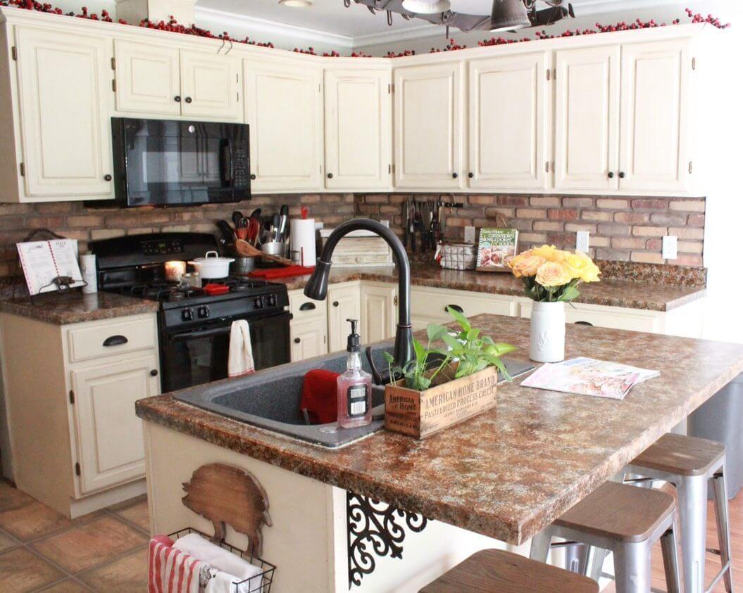 Cream Colored Kitchen with Wrought Iron Detail
