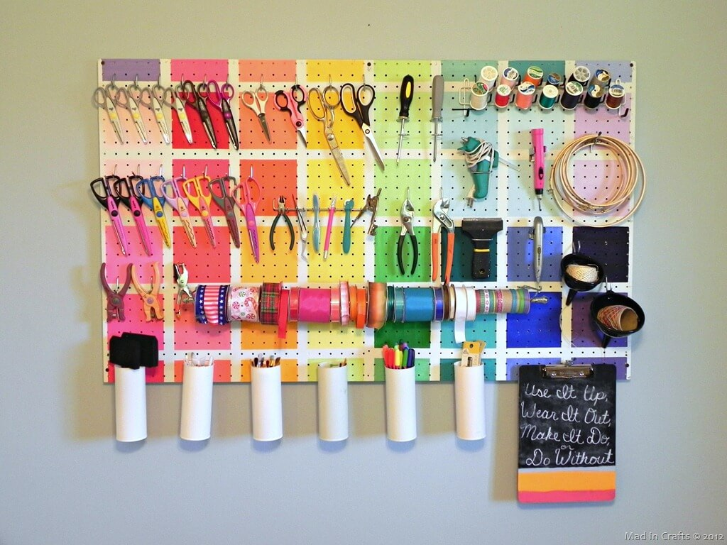 Color Blocked Pegboard Organizer