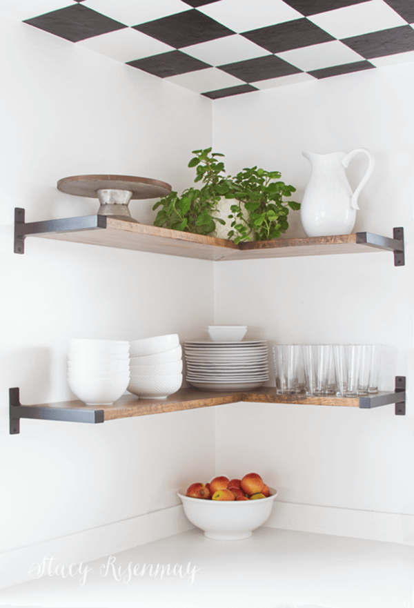 Chic Dark Wood and Iron Corner Shelves