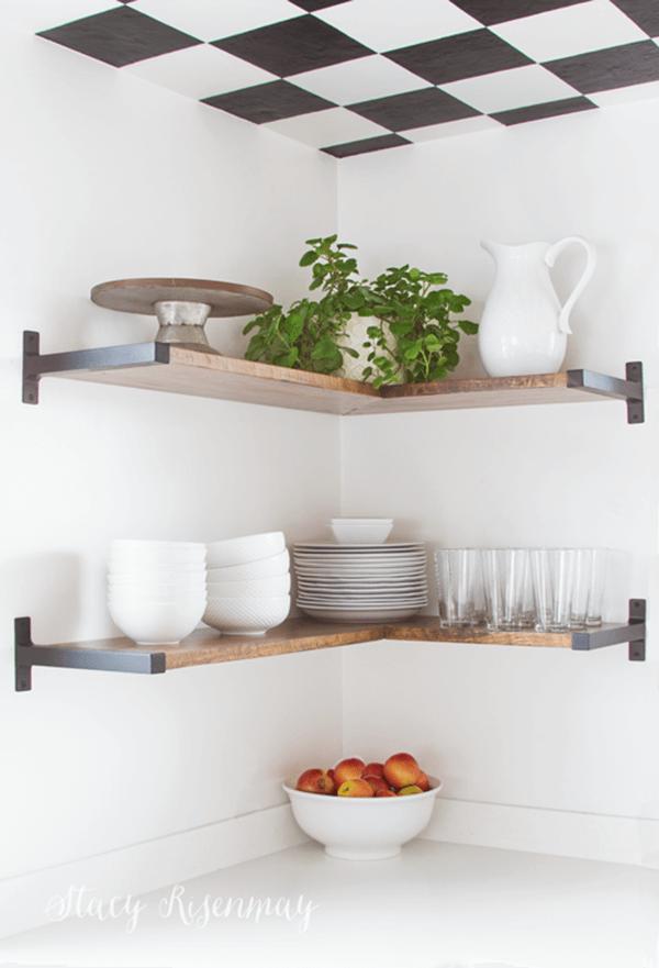 Chic Dark Wood and Iron Corner Shelves