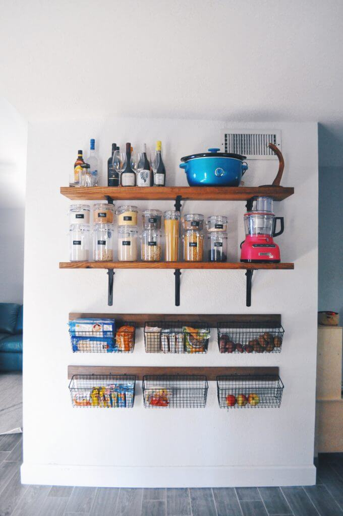 Space-Saving Shelving on a Bare Wall