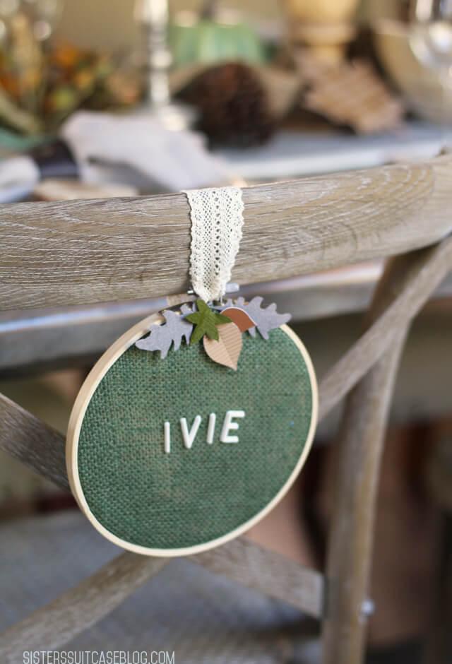 Green Letter Board Embroidery Hoop