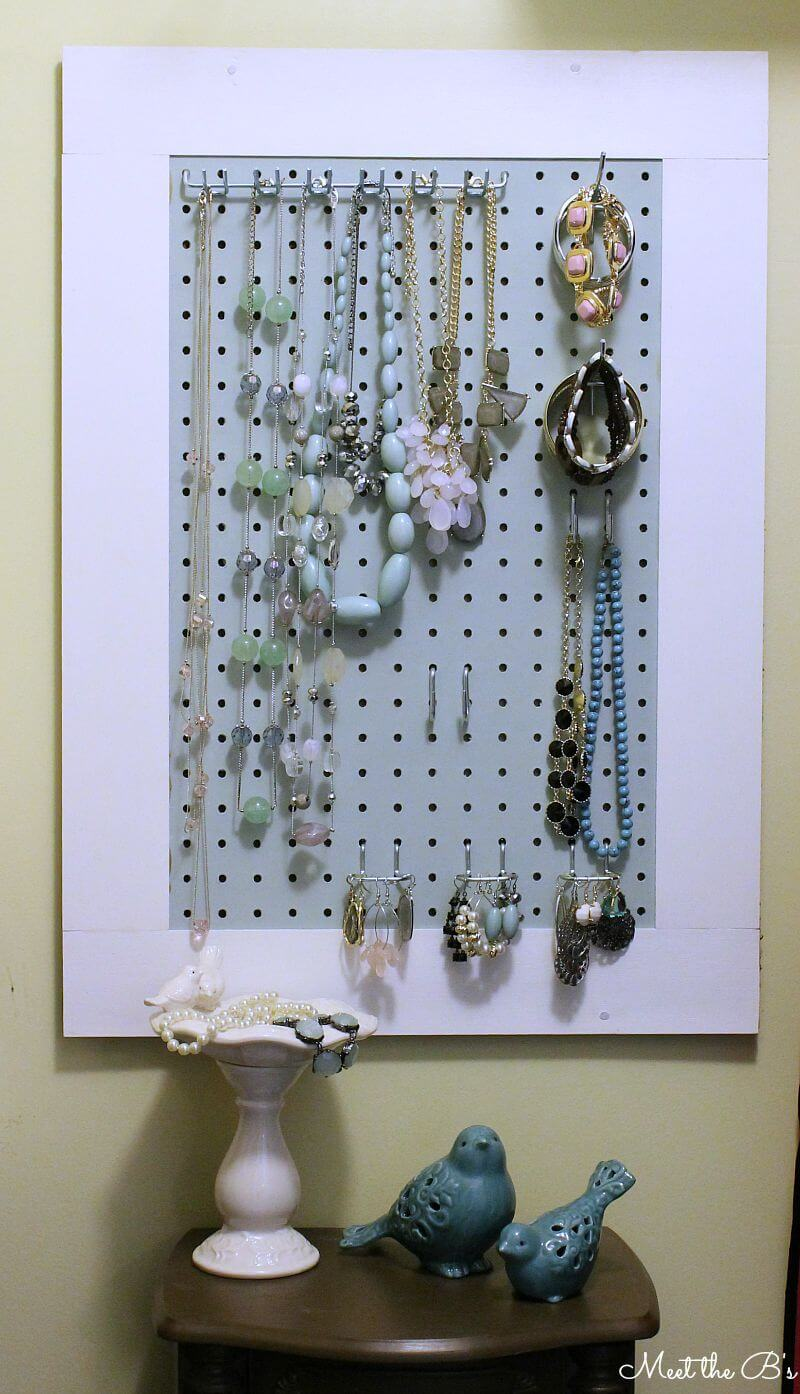 Pegboard Jewelry Organizer Wall Hanging