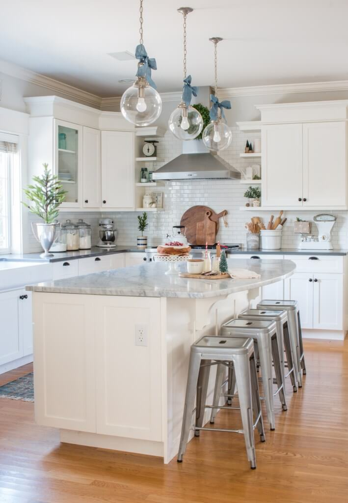 Kitchen with Marble Island and Dome Lighting