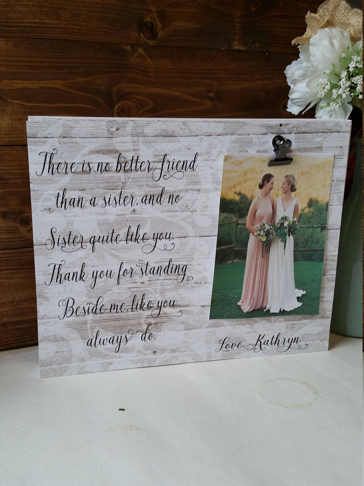 Sweet Lace-Inspired Sister Photo Display