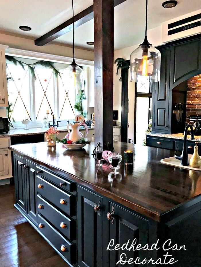 Ebony and Wood Kitchen with Lattice Windows