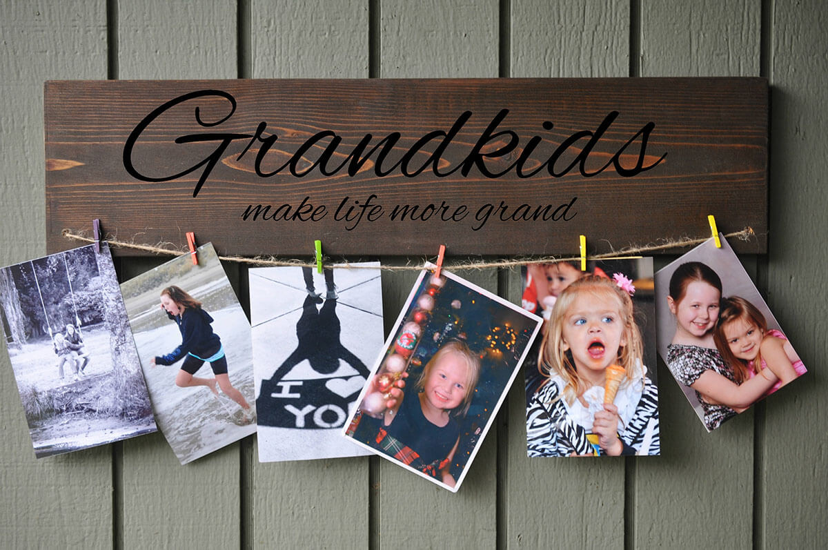 Beautiful Grandparent Clothesline Photo Hanger